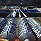 Cables and cable clamps during construction of the Millennium Bridge, London, UK