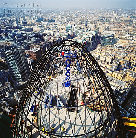 Construction of the peak of 30 St Mary Axe or the Gherkin London UK