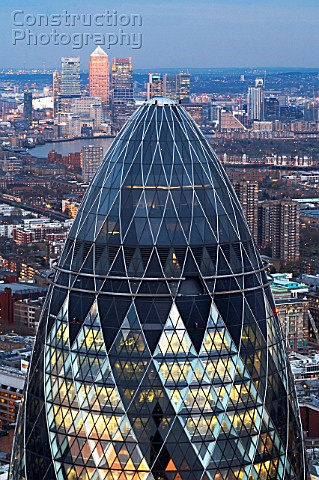 Top of 30 St Mary Axe The Gherkin London UK