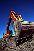 Crawler excavator on site.