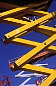 Detail of various scissor lift platforms.