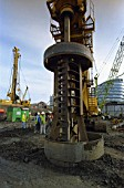 Bore piling in progress along the south bank, London