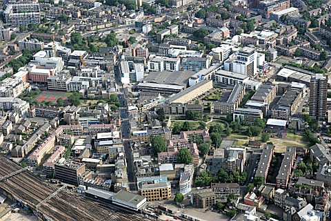 Aerial view of South East London Bermondsey and Southwark regeneration