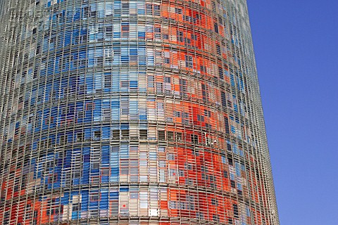 The 144 meters Torre Agbar tower in Barcelona Spain designed by French architect Jean Nouvel 2004 Ma