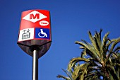 TMB sign with disable access outside the underground entrance, Barcelona, Spain.