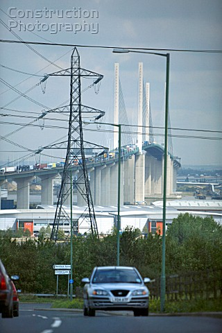 Car with Dartford crossing in the background