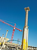 Tower crane and adjustable support pole, low angle