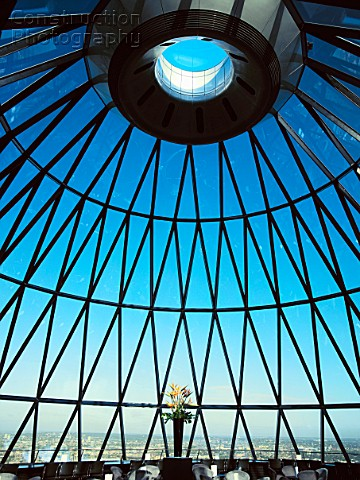 30 St Mary Axe or the Gherkin interior view at the top of the tower