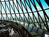View from restaurant at the top of 30 St Mary Axe, or the Gherkin, London, UK