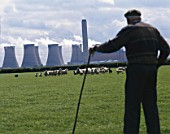 Shepherd, sheep and power station. Lincolnshire, United Kingdom.