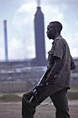 Armed Security guard protecting a mining complex in Zambia, Africa