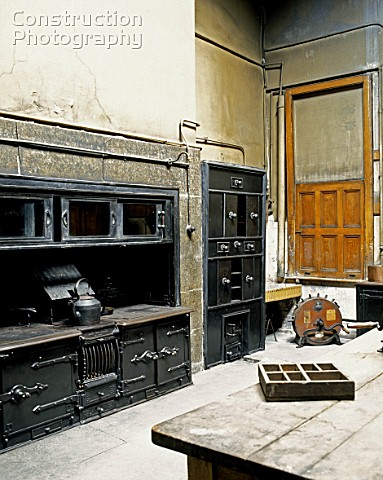 Old kitchen in an English mansion in renovation process