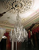 Large chandelier in a listed country house, England