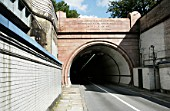 Entrance of the south side of the Rotherhithe tunnel, London, UK.
