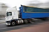 Articulated lorry (blurred motion)