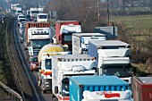 Lorries in traffic jam on dual carriageway, England, UK