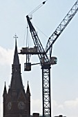 Tower crane and St Pancras Station, London, UK