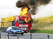 Lorry fire on the M11, UK