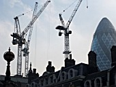 Construction around  Liverpool St Station with Gherkin behind