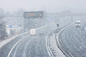 M11 motorway in snow, Cambridgeshire