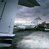 Private jets parking at the maintenance depot, Miami, USA.