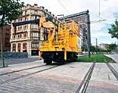 Modified truck for working on tram network. Bilbao, Spain.