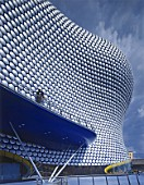 The sculptural shape of the new Selfridges store in Birmingham. The building designed by the Architects Firm Future Systems is covered by 15,000 silver disks.