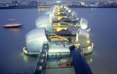 The Thames Barrier at dusk, London, UK.