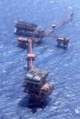 Aerial view of Oil production complex, Gulf of Suez, Egypt