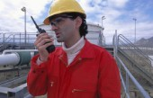 Engineer with walkie talkie.