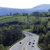 A66 dual carriageway road, Cumbria, United Kingdom.