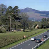 Cars on A66, Cumbria, Lake District, England, UK