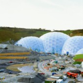 Construction of the Eden Project, Cornwall, United Kingdom. Designed by Nicholas Grimshaw and Partners.