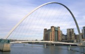Gateshead Millennium Bridge and Baltic Centre for Contemporay Art. Newcastle upon Tyne, United Kingdom.