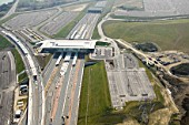 Aerial View of Ebbsfleet International Station, opened on 29 Jan 2008. The aerial view shows some of the car park area which has 9000 spaces.