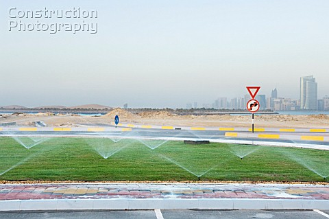 Watering of lawns outside the Marina Mall Abu Dhabi