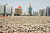 Paving stones waitng to be be laid. Downtown Abu Dhabi.