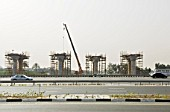 Construction of monorail system alongside the Sheik Zayed Road, Dubai.