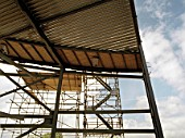 Metal framework of building during construction.