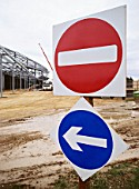 Traffic management signs on site.