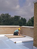 Insulating on flat roof.