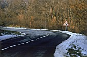 Icy road surface in winter, Region of Savoy, Province of Rhone Alps, France