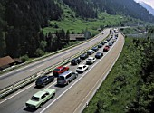 Holiday Traffic Jam on St. Gotthard Motorway, near Village of Wasson, Canton of Uri, Switzerland.
