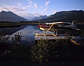 Mooring seaplane at evening - lake (near the village of Valdez) - state of Alaska - usa