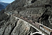 Freight train at Lotscherg Railway track - Swiss Alps - canton of valais - Switzerland