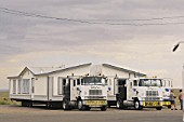Moving new built portable house by two trucks - USA