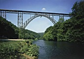 Steel railway bridge of Muengsten (near the town of Solingen) - Wupper river - county of Westphalia - Germany