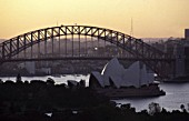 Opera house and harbour bridge at evening - city of Sydney - Australia