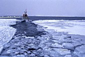 Fishing cutter in open channel of freezing up ice at morning - Greenland - Denmark