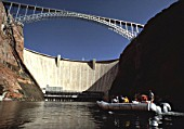 Rubber dinghy at Colorado river - Glen canyon dam - state of Arizona - USA
